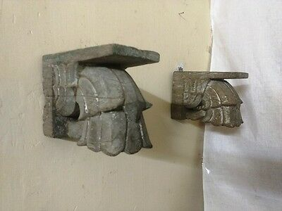 Antique Corbel Pair Wall Hanging Wooden Bracket Vintage corbel Home Decor Rare 7