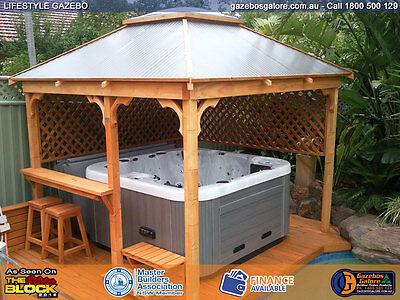 TIMBER LIFESTYLE GAZEBO Kit - Colourbond Roof - Skylight - 3 0 X 3 0 Metre