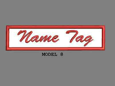 """Custom Embroidered 4"""" x 1"""" Name Tag Patch Motorcycle Biker Iron on/sew on Script 8"""