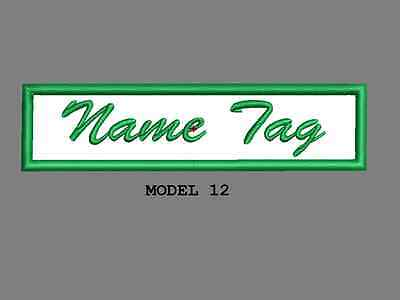 """Custom Embroidered 4"""" x 1"""" Name Tag Patch Motorcycle Biker Iron on/sew on Script 12"""