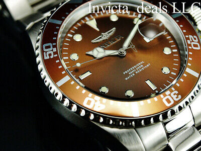 Invicta Men's 43mm Pro Diver SUBMARINER Brown Dial Silver Tone 200m SS Watch 8