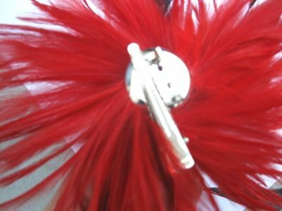 dark red fascinator millinery feather brooch clip wedding hat ascot race  1 3