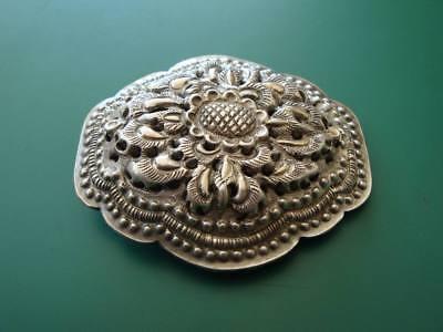 ANTIQUE ORIGINAL Balkan OTTOMAN lace forged engraved silver brooch decorat XIXc 3