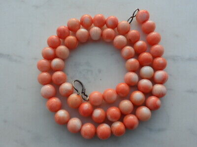 Vintage Superb Carved Chinese Salmon Pink Coral Round Bead Necklace 53 Grams 8