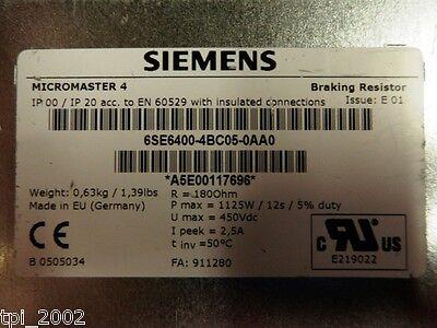 SIEMENS 6SE6400-4BC05-0AA0 MICROMASTER Bremswiderstand