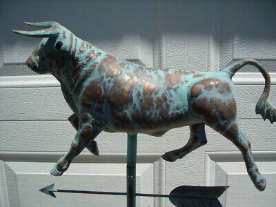 Bull 3D Steer Weathervane Antiqued Copper Finish Cow Weather Vane Hand Crafted 2