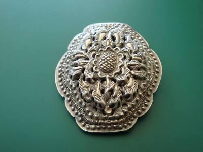 ANTIQUE ORIGINAL Balkan OTTOMAN lace forged engraved silver brooch decorat XIXc 4