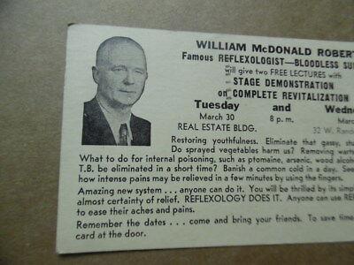 1942 William McDonald Roberts Bloodless Surgeon Reflexology Lecture Postcard 2