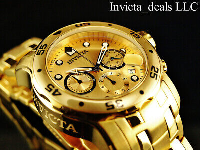 Invicta Men's 48mm PRO DIVER Scuba Chronograph Gold Dial 18K Gold Plated Watch 3