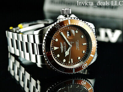 Invicta Men's 43mm Pro Diver SUBMARINER Brown Dial Silver Tone 200m SS Watch 2