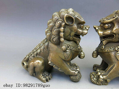 Chinese Brass Copper Animal Feng shui Foo Dog Lion town house Statue pair 2