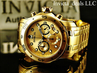 Invicta Men's 48mm PRO DIVER Scuba Chronograph Gold Dial 18K Gold Plated Watch 5