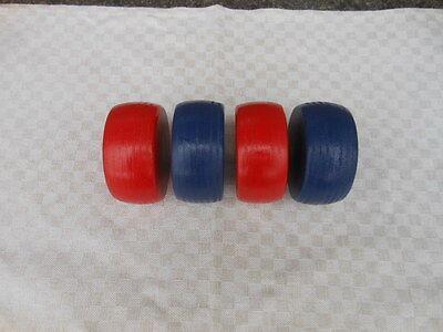 Kloatscheeten 4 Kloats mit Bleikern in Rot und Blau Boßeln Kloat