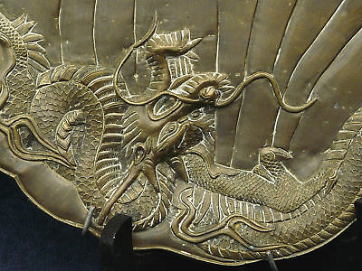 SUPERB ANTIQUE VERY HEAVY BRASS PLATE DRAGON & FOO DOG or TIGER 3