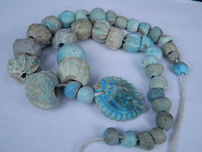 Ancient Fience Beads Strand Egyptian Roman 200 BC #BD15001 2