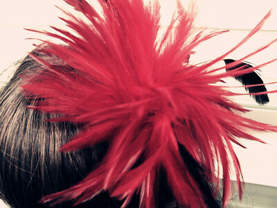 dark red fascinator millinery feather brooch clip wedding hat ascot race  1 2