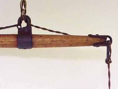 Vintage Industrial Chandelier Fused Glass Shades Horse Evener Wood Cast Iron 5