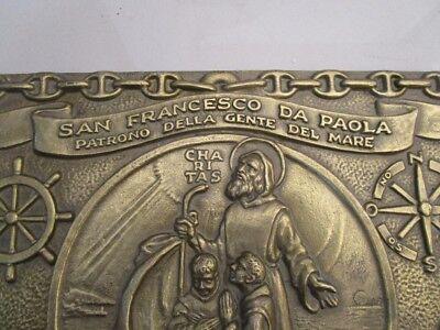 Vintage SAN FRANCESCO DA PAOLA  Plate / Plaque - BRASS - 100% ORIGINAL (2187) 2