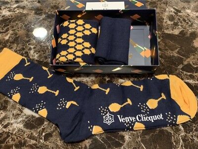New VEUVE CLICQUOT VCP Happy Socks 3 PAIR Set LIMITED EDITION RARE SIZE 8-12 2