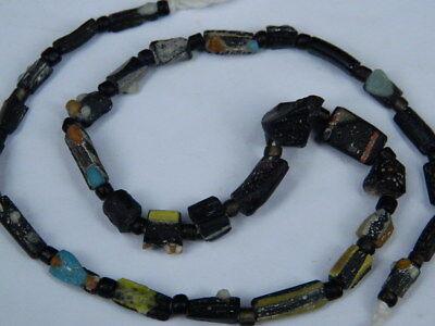 Ancient Mosaic Glass Fragment Beads Strand Roman 200 BC #BE5106 2