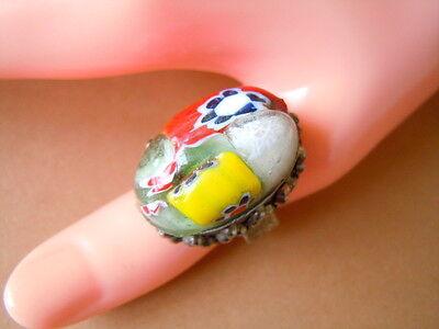 XL Murano Glas Ring mit 925 Sterling Silber Ringschiene 13,5 g/RG 58