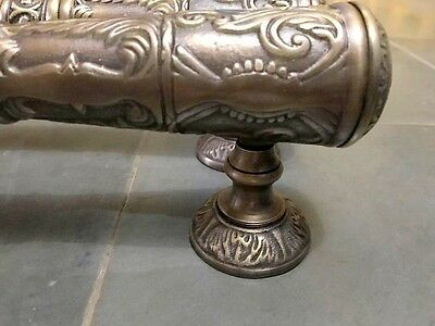 """2 large DOOR handle pulls 32 cm solid engraved brass aged old style 13 """"B 2"""