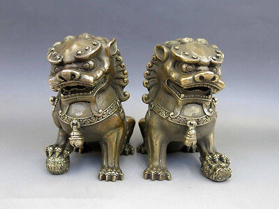 Antiques Oriental Brass Animal Feng shui Foo Dog Lion town house Statue pair 4