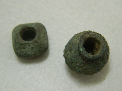 Ancient Bronze 2 Beads Bactrian 300 BC  #GL1699 2
