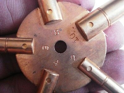 MASTER Key for all ANTIQUE CLOCK - BRASS -Total 10 type of Key HOLE in Two piece 3