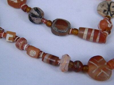 Ancient Etch Carnelian Beads Strand Roman 200 BC #BD15043 8