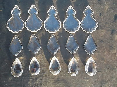 A mixture of 15 pretty glass   chandelier drops(D8492) 5
