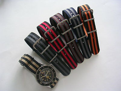 NATO watch strap band G10 nylon Military Diver utc RAF stitched bonded IW SUISSE 10