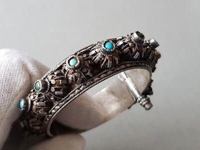 GORGEOUS ANTIQUE Ottoman SILVER filigree Bracelet with semi precious stones XIXc 3
