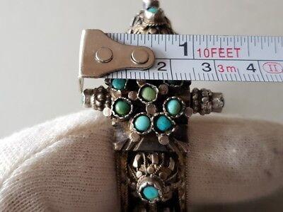 GORGEOUS ANTIQUE Ottoman SILVER filigree Bracelet with semi precious stones XIXc 12