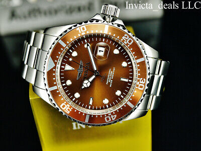 Invicta Men's 43mm Pro Diver SUBMARINER Brown Dial Silver Tone 200m SS Watch 11