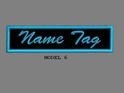 """Custom Embroidered 4"""" x 1"""" Name Tag Patch Motorcycle Biker Iron on/sew on Script 6"""