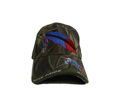 110b6ed1239 ... Native American Feather and Beads Native Pride Indian Shadow Camo Ball  Cap Hat 4