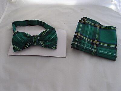 DD>Tartan-Green/Black Polyester Bow Tie + Cummerbund & Hanky Set>P&P2UK>1st Clas 7