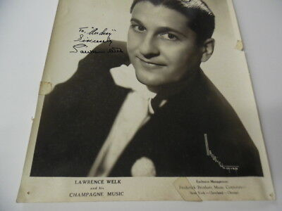 1944 LAWRENCE WELK and his Champagne Music Signed Inscribed Photo Vintage ORIG. 4