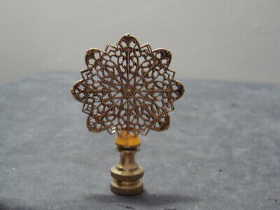 Antique Solid Brass Filigree Amber Anchored Rotating 15 Point Fan Finial 7