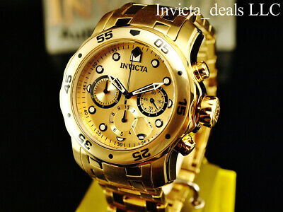Invicta Men's 48mm PRO DIVER Scuba Chronograph Gold Dial 18K Gold Plated Watch 8