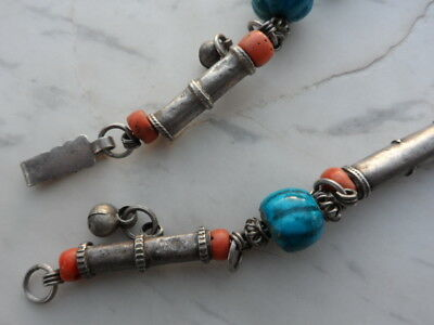 old Antique Vintage solid silver necklace ethnic coral, Egypt faience 1920s 12