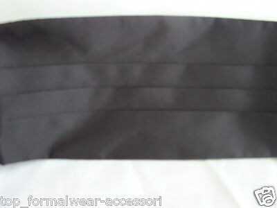 "<Deal> Quality Mens 100% Silk BLACK Cummerbund> up to 48"" Waist>P&P2UK>1st Class 3"
