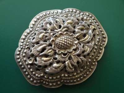 ANTIQUE ORIGINAL Balkan OTTOMAN lace forged engraved silver brooch decorat XIXc 2