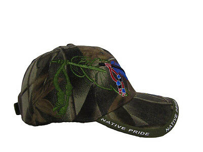 470d9af2d5e ... Native American Feather and Beads Native Pride Indian Shadow Camo Ball  Cap Hat 5