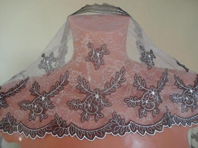 Nicht elastische bestickte Tüll Spitze,Spitzenborte,lace in weiß 19cm breit