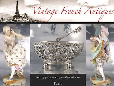 Antique French Sterling Silver Napkin Ring, Hallmark, Dupont, Lions, Monogrammed 12