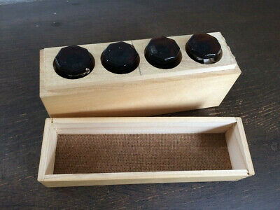 4x Apothekerflaschen unbenutzt Medizinflaschen Arzneiflaschen im Holzkästchen 2