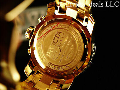 Invicta Men's 48mm PRO DIVER Scuba Chronograph Gold Dial 18K Gold Plated Watch 7