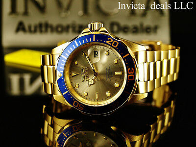 Invicta Mens 40mm Pro Diver Champagne Dial 18K Gold Plated Stainless Steel Watch 10